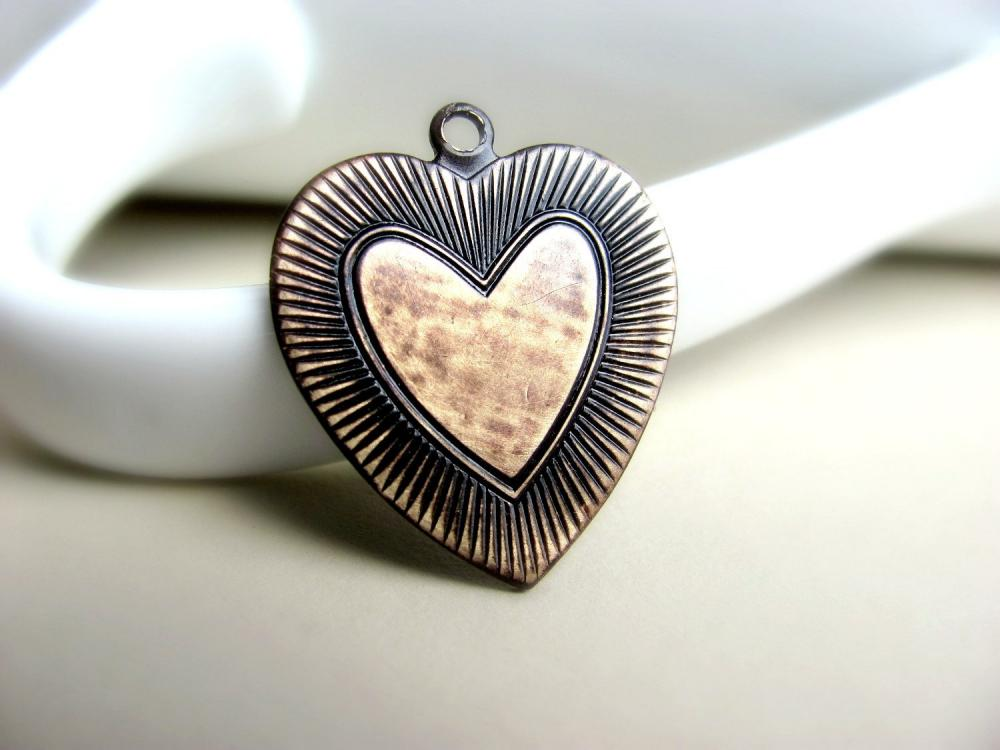 1 Solid Brass Heart Shaped Pendant, Hand Patina