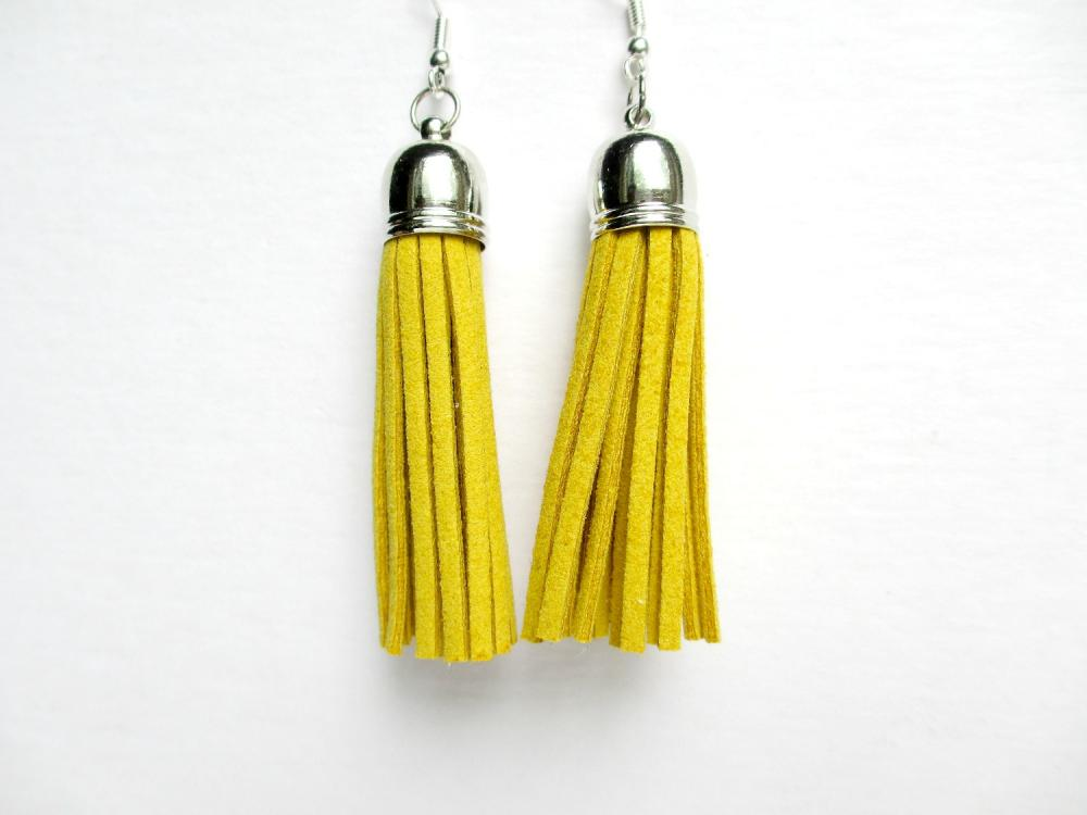 Mustard Tassel Earrings, Fringe Earrings