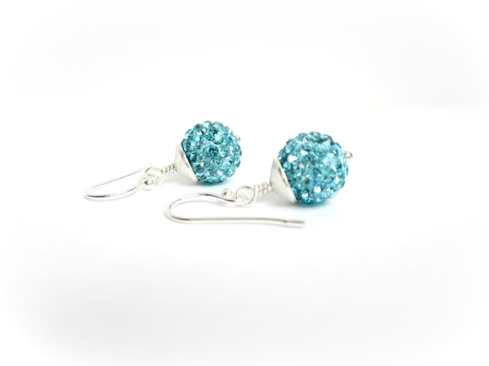 Sterling Silver Pave Earrings, Aqua Pave Earrings