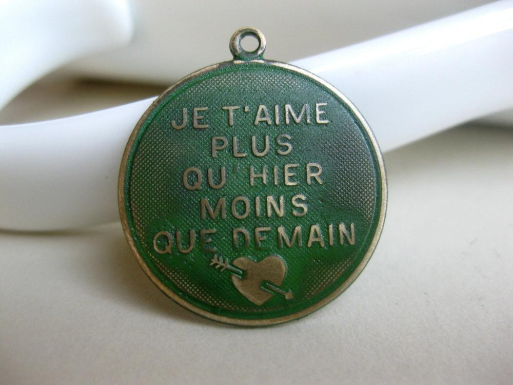 Solid Brass French Charm Green Patina