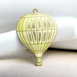 Hand Patina Hot Air Balloon, Cream Hot Air Balloon, Cream Patina, Brass Pendant