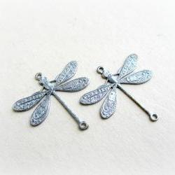 2 Platinum Butterfly Connectors, Silver Butterfly Charms, Butterfly Connectors
