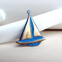 Nautical Sailboat Pendant, Brass Charm