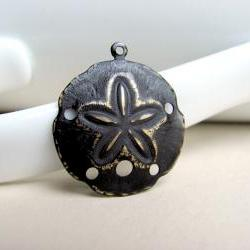 Black Patina SandDollar Charm Pendant