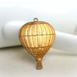 Hot Air Balloon Pendant,Gold Patina, Brass Pendant
