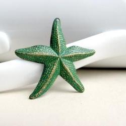 Green Brass Patina Starfish Charm Pendant